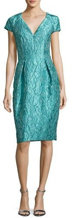 Cap-Sleeve Jacquard Cocktail Dress by Carmen Marc Valvo in La La Land