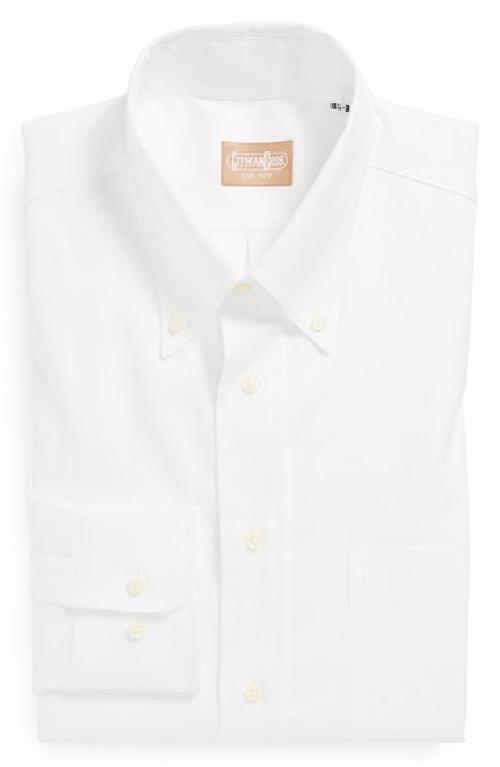 Regular Fit Pinpoint Cotton Oxford Button Down Dress Shirt by Gitman in Blended