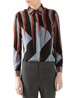 Triangle Print Silk Shirt by Gucci in Mistresses