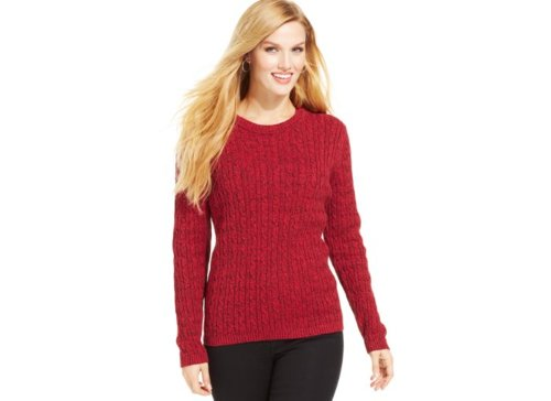 Long-Sleeve Crewneck Cable-Knit Sweater by Karen Scott in If I Stay