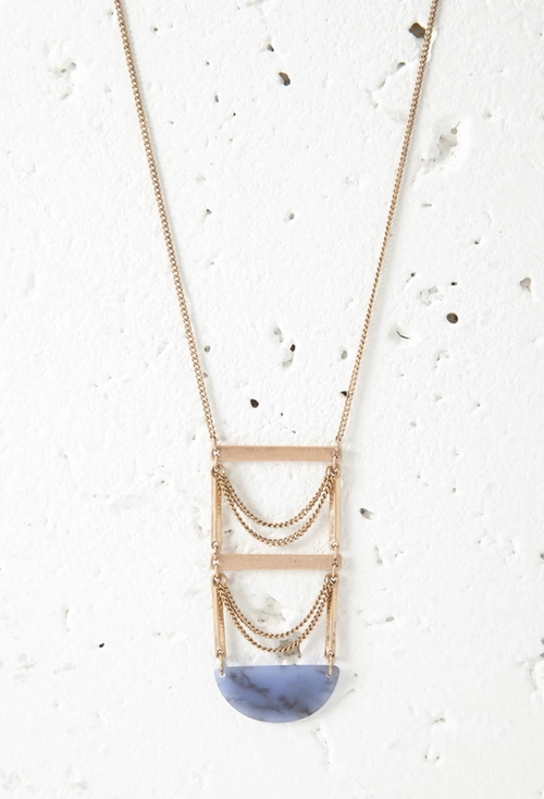 Faux Stone Ladder Pendant Necklace by Forever 21 in The Flash - Season 2 Episode 14