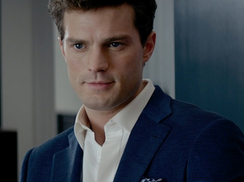 Custom Made Navy Wool Suit by Mark Bridges (Costume Designer) in Fifty Shades of Grey
