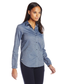 Women's Long Sleeve Cotton Chambray Shirt by Lacoste in American Housewife