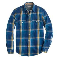 HEAVYWEIGHT FLANNEL SHIRT IN BLUE HAZE PLAID by WALLACE & BARNES in Sabotage