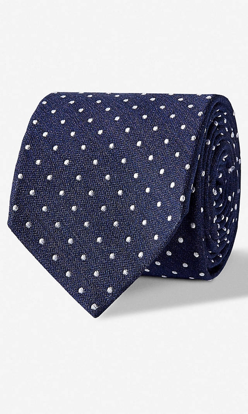 Dot Print Narrow Silk Blend Tie by Express in Sleeping with Other People