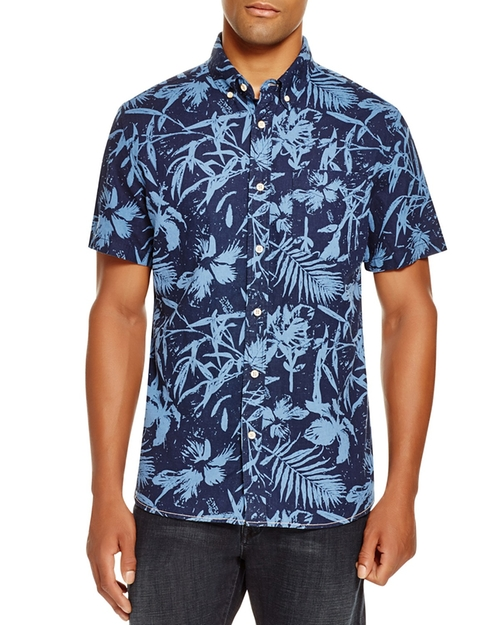 Print Short Sleeve Button Down Shirt by Surfside Supply in New Girl - Season 5 Episode 3