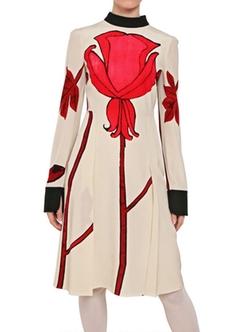 Multicolor Tulip Print Crepe De Chine Dress by Marni in Elementary