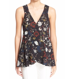 'Purcell' Floral Print Sleeveless Silk Top by A.L.C. in New Girl