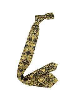 Ornamental Print Silk Tie by Versace in Elf