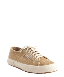 Light Brown Canvas Lace Up 'Cotu Classic' Sneakers by SUPERGA in Blended