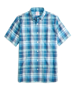 Madison Fit Blue Madras Short-Sleeve Sport Shirt by Brooks Brothers in Sex and the City 2