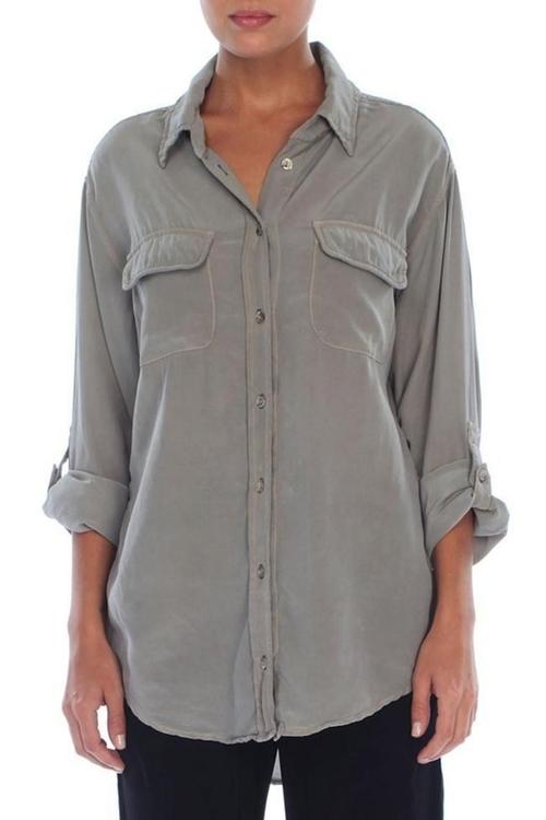 Sarah Silk Button Down Shirt by Gypsy in Secret in Their Eyes