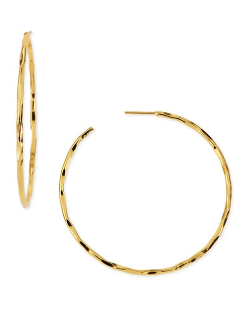 Thin Hammered Gold-Plated Hoop Earrings by Nest Jewelry in She's The Man