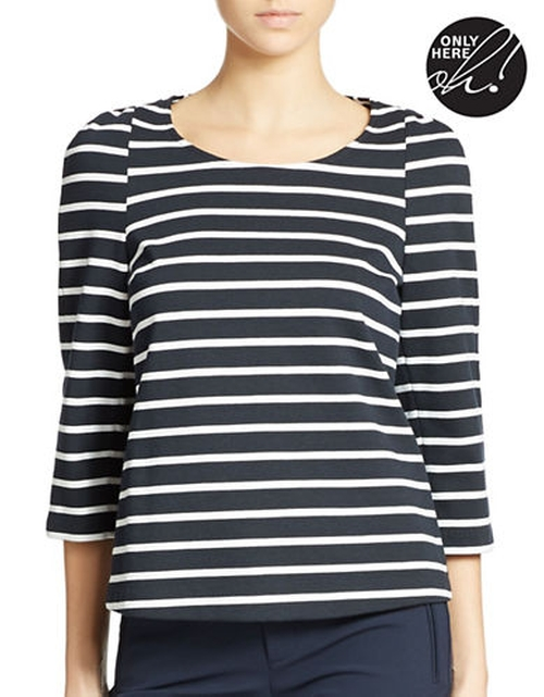 Tidal Stripe Ponte Top by 424 Fifth in A Walk in the Woods