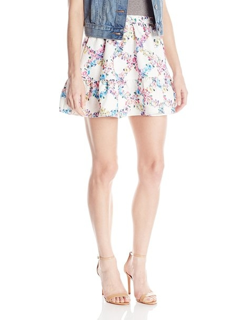 Women's Floral Jacquard Flared Skirt by Lucca Couture in Scream Queens - Season 1 Episode 3