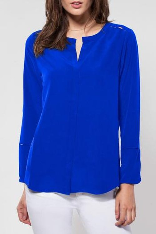 Silk Long-Sleeve Blouse by Shoptiques in Spy