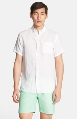 Jack Trim Fit Short Sleeve Linen Sport Shirt by Onia in Scarface