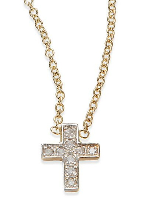 Diamond & 14K Gold Cross Necklace by Kacey K Fine Jewelry in Keeping Up With The Kardashians - Season 11 Episode 7