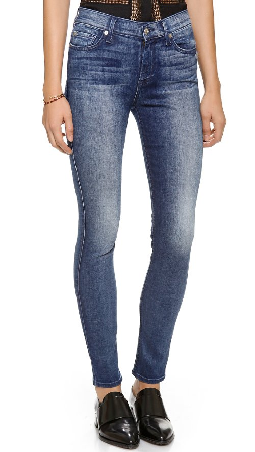 Mid Rise Skinny Denim Pants by 7 For All Mankind in Need for Speed