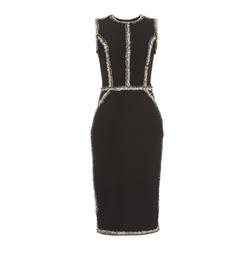 Sleeveless Tweed-Trimmed Pencil Dress by Oscar de la Renta in Suits