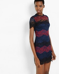 Lace Stripe Short Sleeve Dress by Express in The Flash
