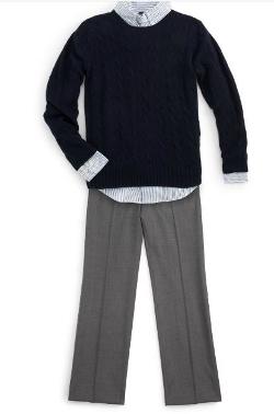 Boy's Custom-Fit Striped Shirt by Ralph Lauren in Pan