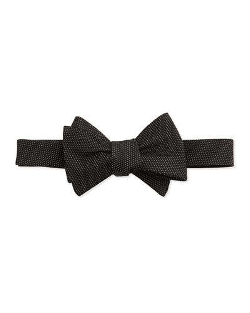 Pindot Pattern Silk Bow Tie by Neiman Marcus in Barely Lethal