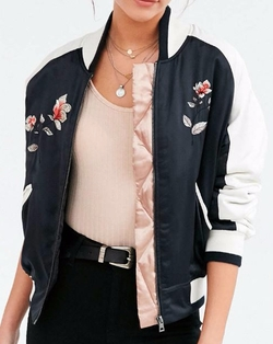 On Tour Satin Varsity Bomber Jacket by Silence + Noise in 13 Reasons Why