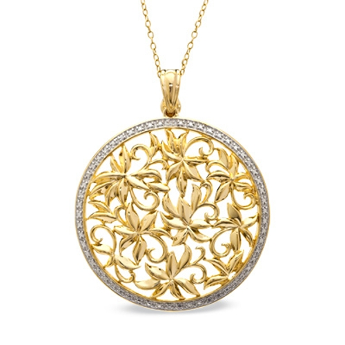 Diamond Accent Mendallion Pendant In Sterling Silver Gold-Plated Necklace by Zales in The Divergent Series: Insurgent