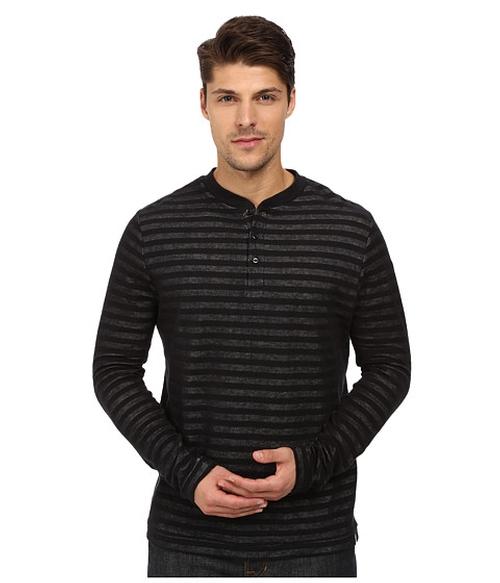 Plated Jersey Knit Henley Shirt by London Fog in Arrow - Season 4 Episode 12