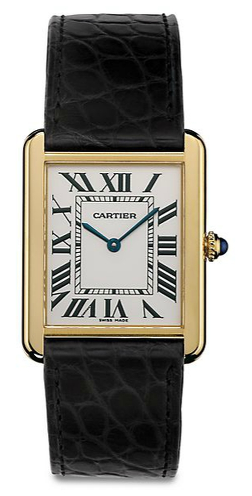 Yellow Gold & Alligator Strap Watch by Cartier in Suits - Season 5 Episode 2