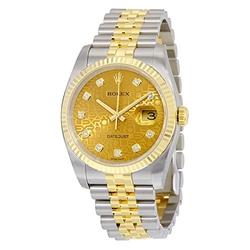 Datejust Automatic Champagne Dial Watch by Rolex in Vinyl