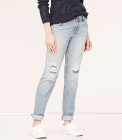 Petite Relaxed Straight Leg Jeans by Loft in Dope