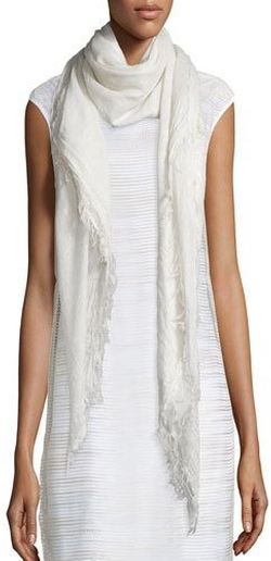 Fringe-Trim Scarf by Peserico in The Boss