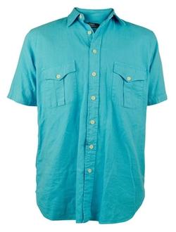 Big Tall Linen Cotton Button Down Shirt by Polo Ralph Lauren in Ballers