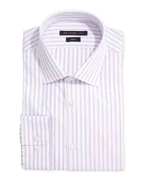 Long-Sleeve Striped Dress Shirt by John Varvatos Star USA in Ride Along