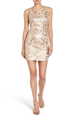 Women's Cutout Back Sequin Body-Con Dress by Dear Moon in Rosewood