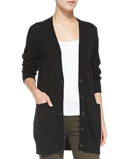 Cashmere V-Neck Button-Front Cardigan by Vince in Contraband