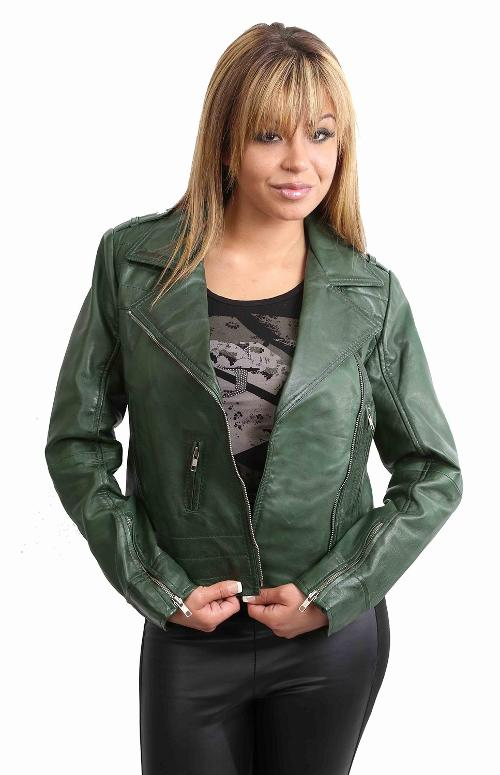 Womens Biker Leather Jacket Fitted Style by House of Leather in Anchorman 2: The Legend Continues
