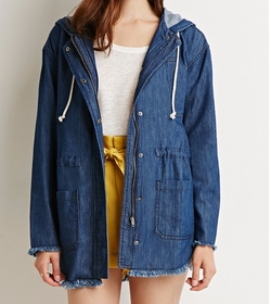 Contemporary Life In Progress Frayed Denim Jacket by Forever 21 in Unbreakable Kimmy Schmidt