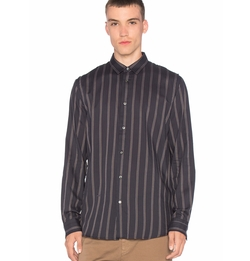 Striped Shoulder Pleat Shirt by Robert Geller in Bleed for This
