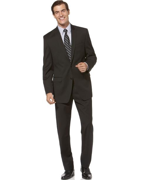 Suit Black Solid Slim Fit by Calvin Klein in Jersey Boys