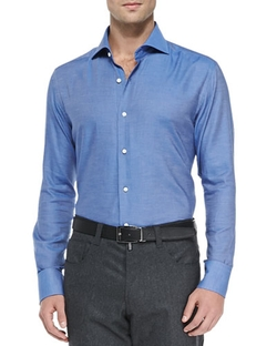 Solid Woven Shirt by Neiman Marcus in Our Brand Is Crisis