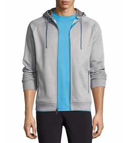 Crown Active Zip-Front Hoodie by Peter Millar in The Ranch