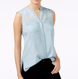 Embroidered Chambray Top by American Rag in Rosewood