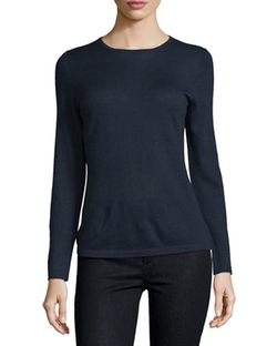 Cashmere Crewneck Sweater by Neiman Marcus Cashmere Collection in Suits