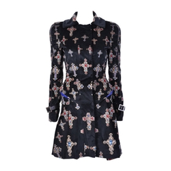 Velvet Gothic Cross Print Flared Coat by Versace in Empire
