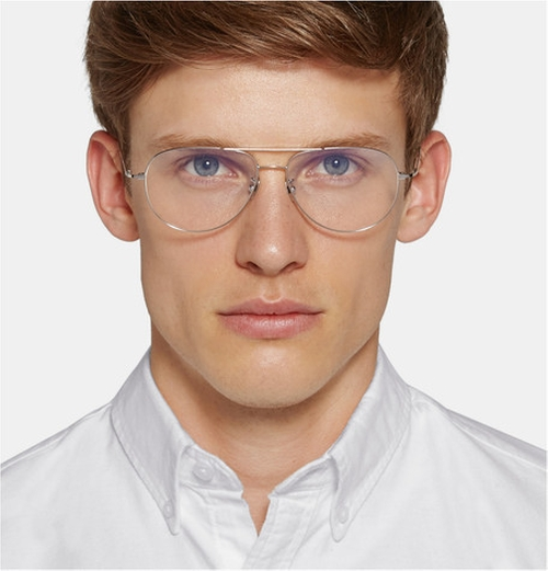 Aviator-Style Palladium-Plated Optical Glasses by Cutler And Gross in Eddie The Eagle