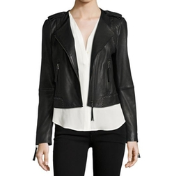 Margolin Studded Leather Moto Jacket by Joie in New Girl