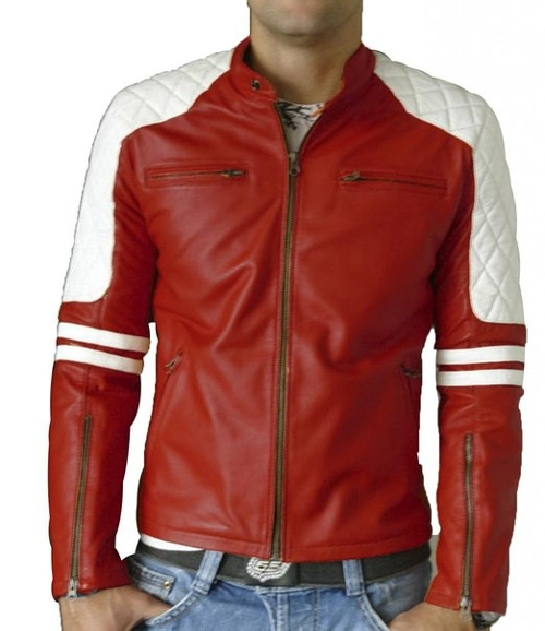 Men's Leather Biker Jacket Mj146 by Skinsdesign in Fight Club